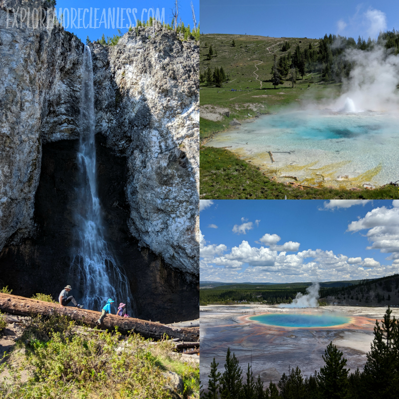 fairy falls grand prismatic overlook and imperial geyser