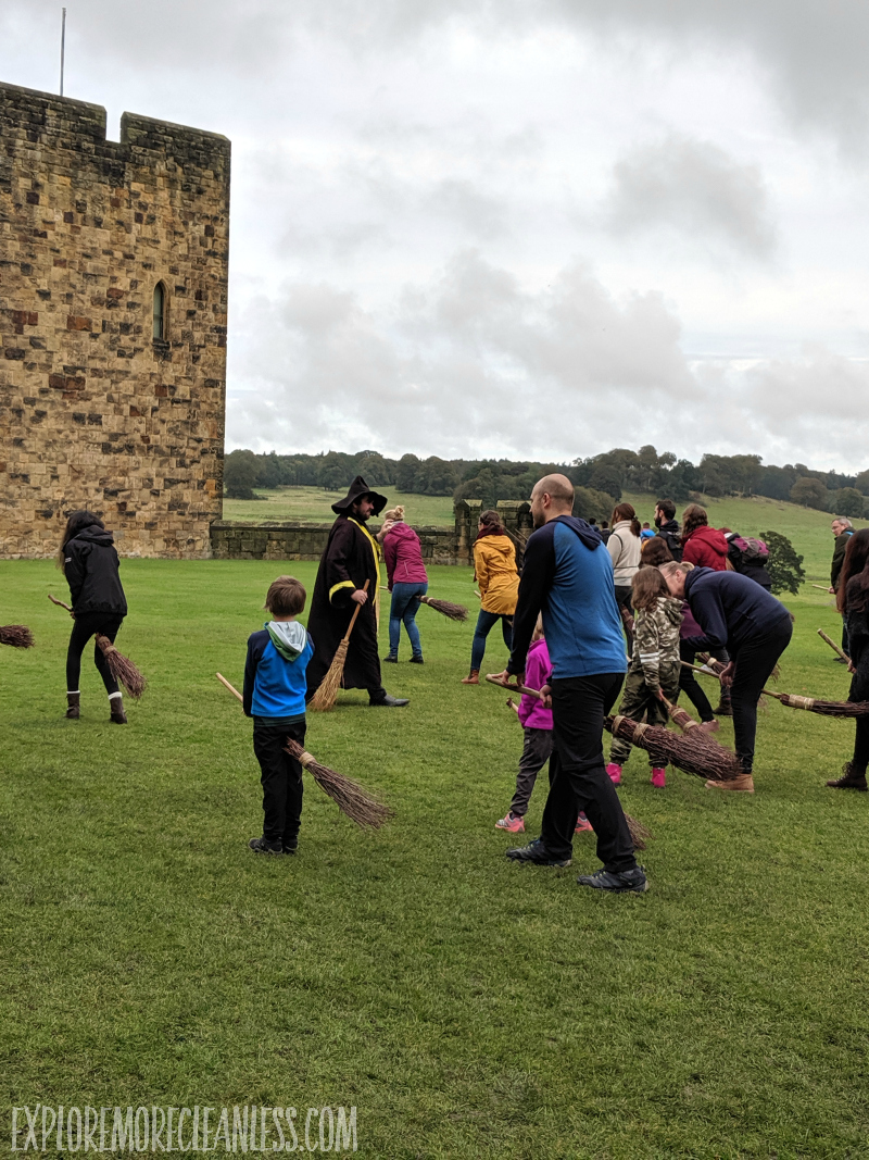 broomstick training at a castle
