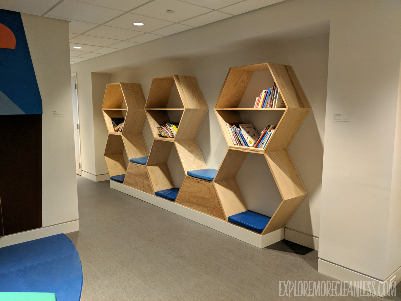 hexagon reading book built from wood