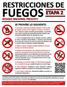 fire restrictions en espanol, prescott forest, visit prescott, explore prescott, hike prescott
