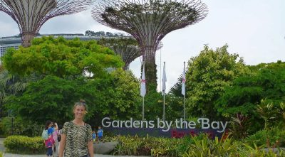 Gardens by the Bay sign in Singapore with tourists