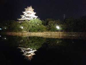 Hiroshima Castle reflected in water at night Japan