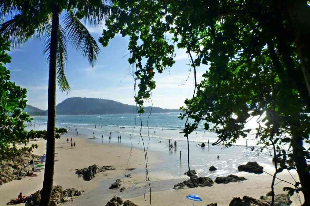 Beach with mountain in Patong Thailand