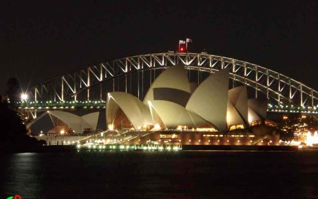 Sydney Opera House and Bridge, night view, water