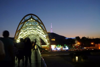Bridge of Peace across the Mtkvari River in Tbilisi Georgia