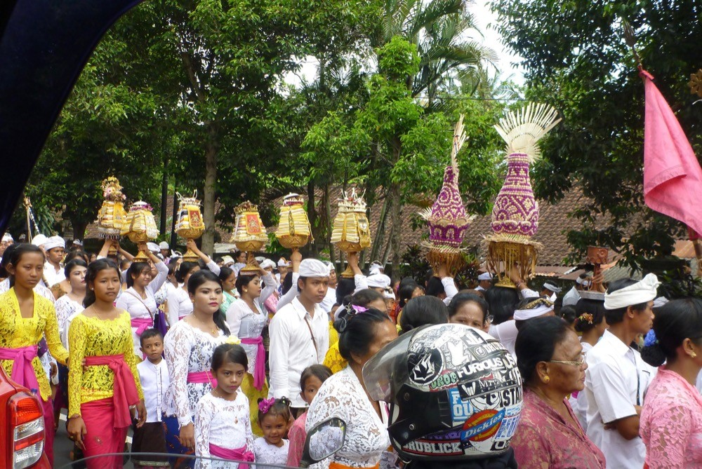 Indonesian people parading in celebration
