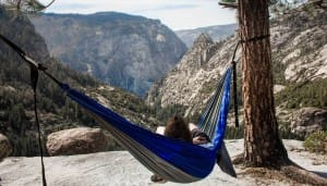 hammock camping at yosemite national park with a view looking over the mountains
