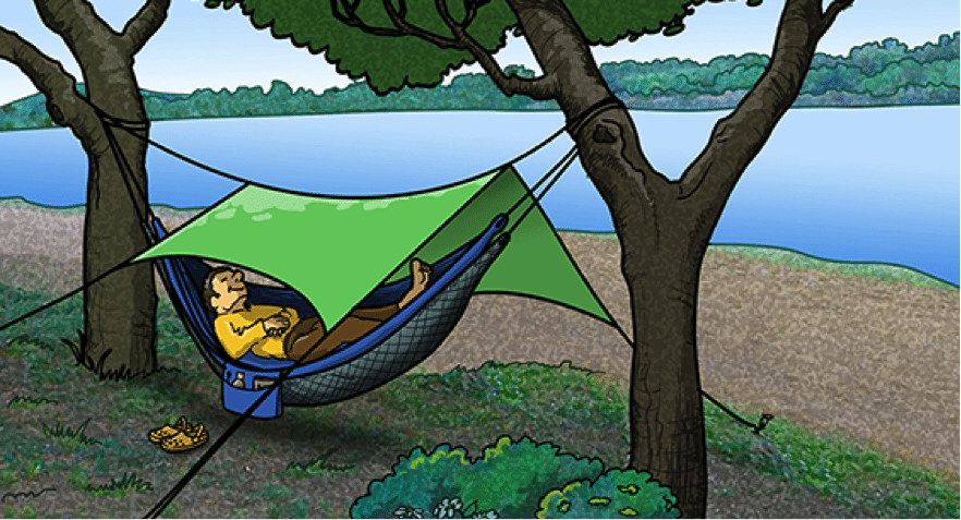 parachute nylon camping hammock illustration