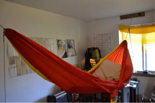 indoor hammock hanging with a wall mount