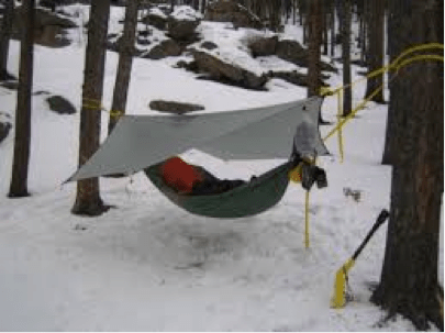 winter hammock tarp setup