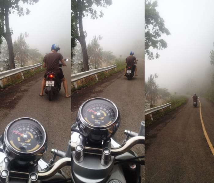 Riding our motorbikes through the fog and mountain roads of Thailand