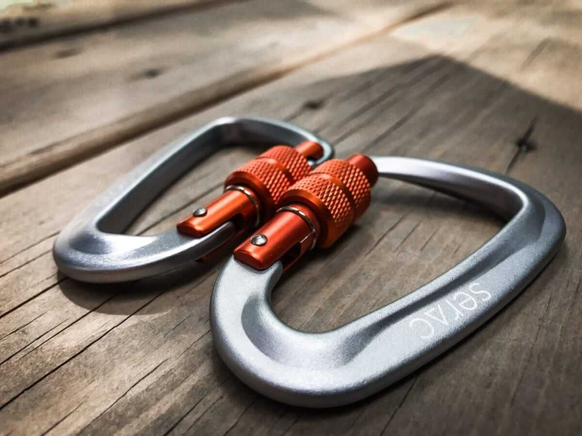 ultralight aluminum gecko grip screw lock carabiners for serac camping hammock