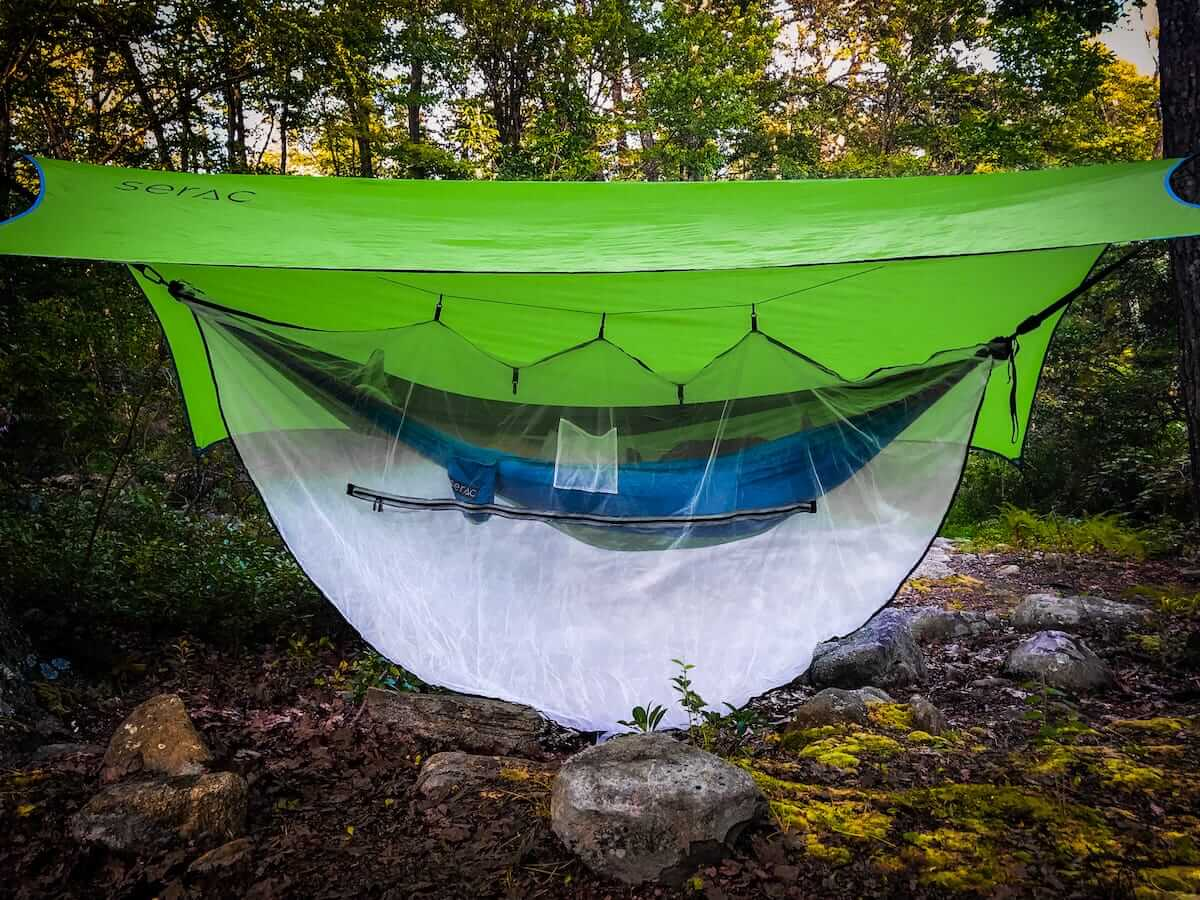Medium image of serac classic single camping hammock with tarp rain fly and bug mosquito