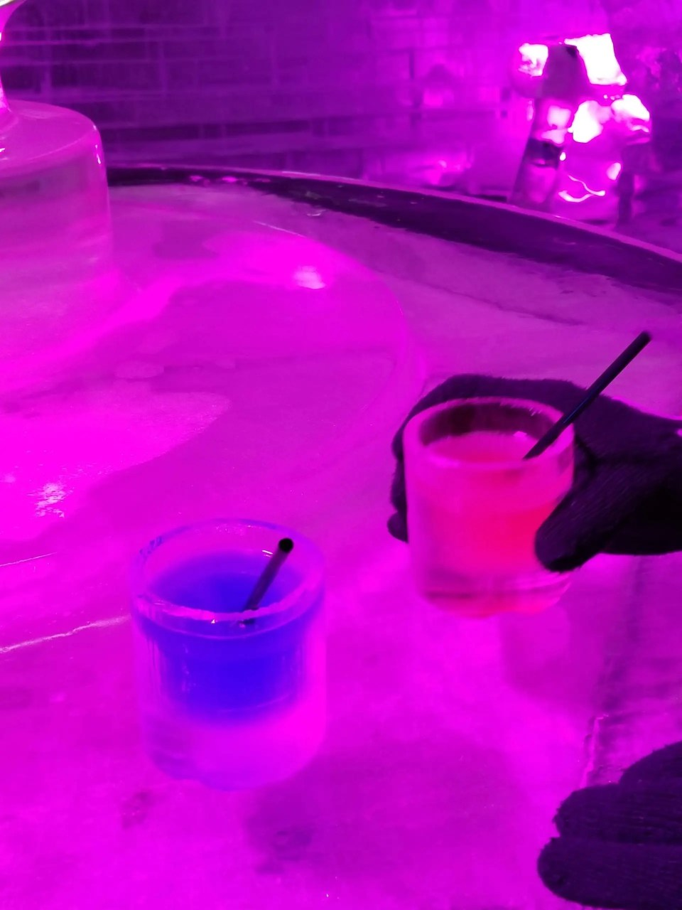 displays cocktails served in glasses made from ice at Orlando's Ice Bar