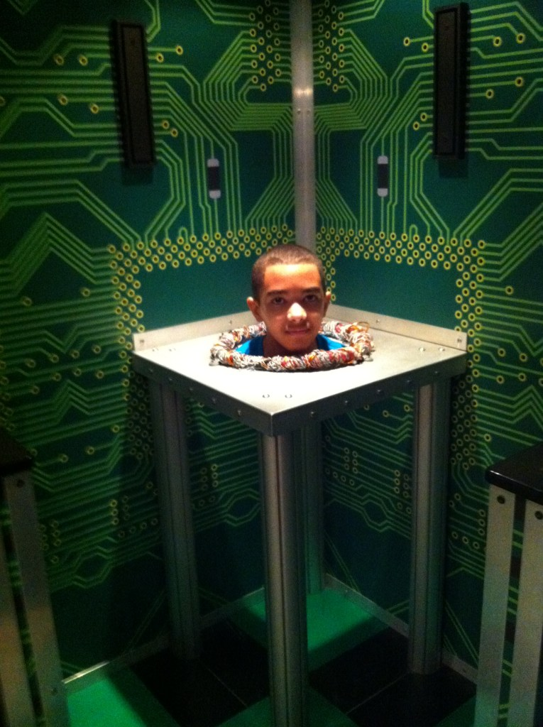 Shows a boy's head appearing to have no body in Wonderworks as discussed in things to donin Orlando
