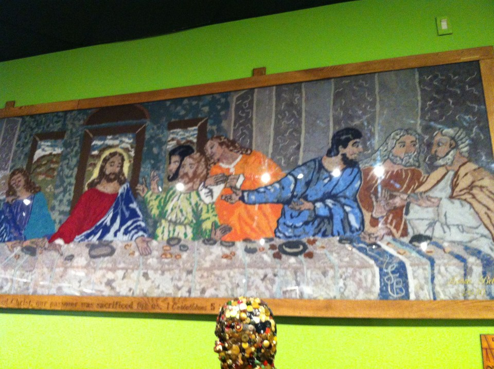 shows artwork of the last supper created with lint displayed at Ripley's Believe it or not Odditorium from a list of things to do in Orlando