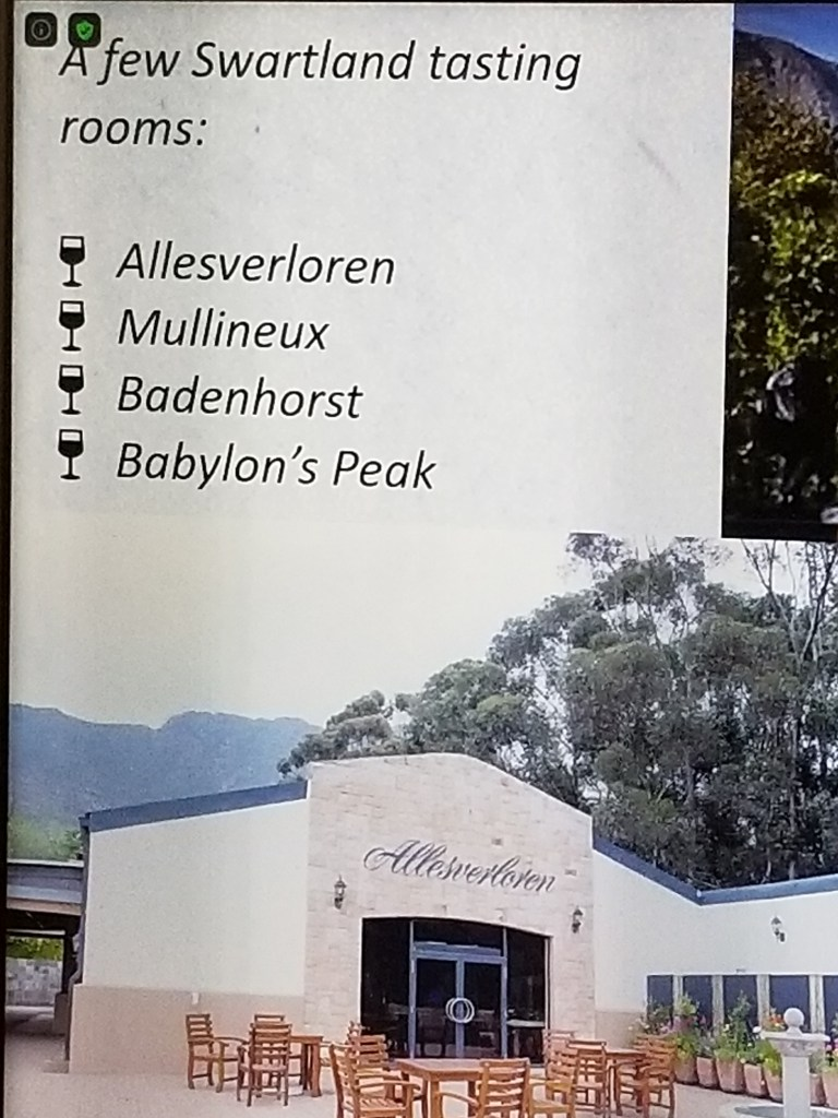 shows a photo listing some South African wine farms in the Swartland region