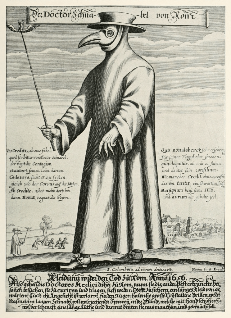 Shows an image of a plague doctor complete with mask, cloak and stick