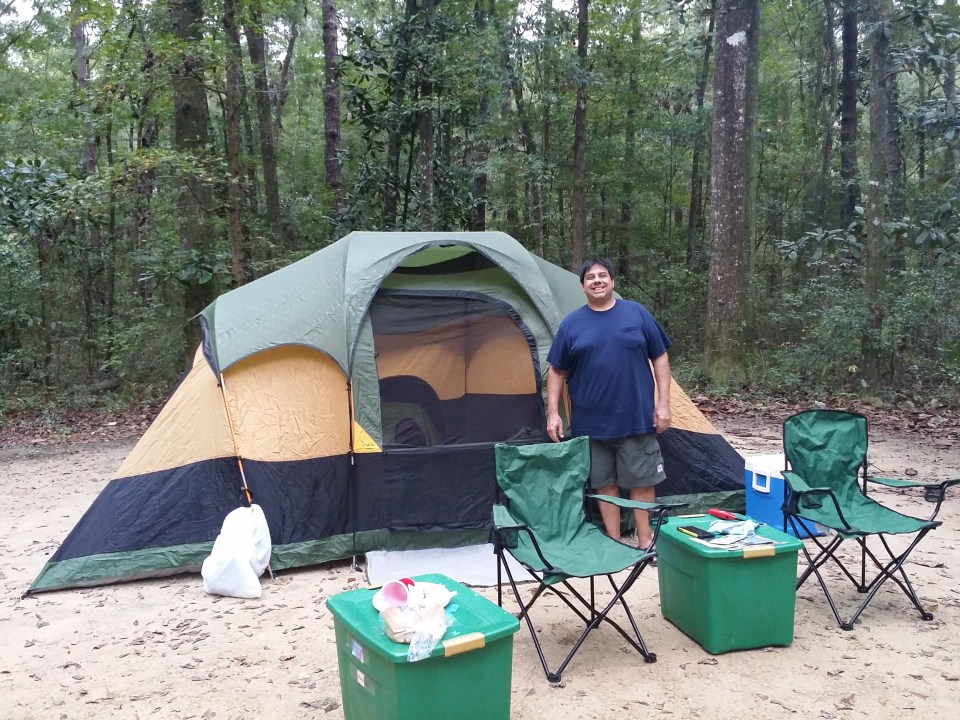 7 person tent set up for sleeping under the stars at Florida Caverns State Park