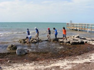 kids by the water at Sugarloaf Key