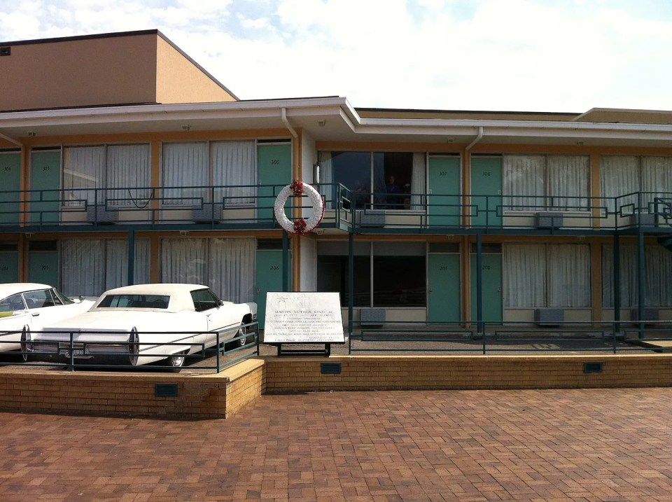 Shows the front of the Lorraine Motel where important person in black history, Reverend Martin Luther King was shot