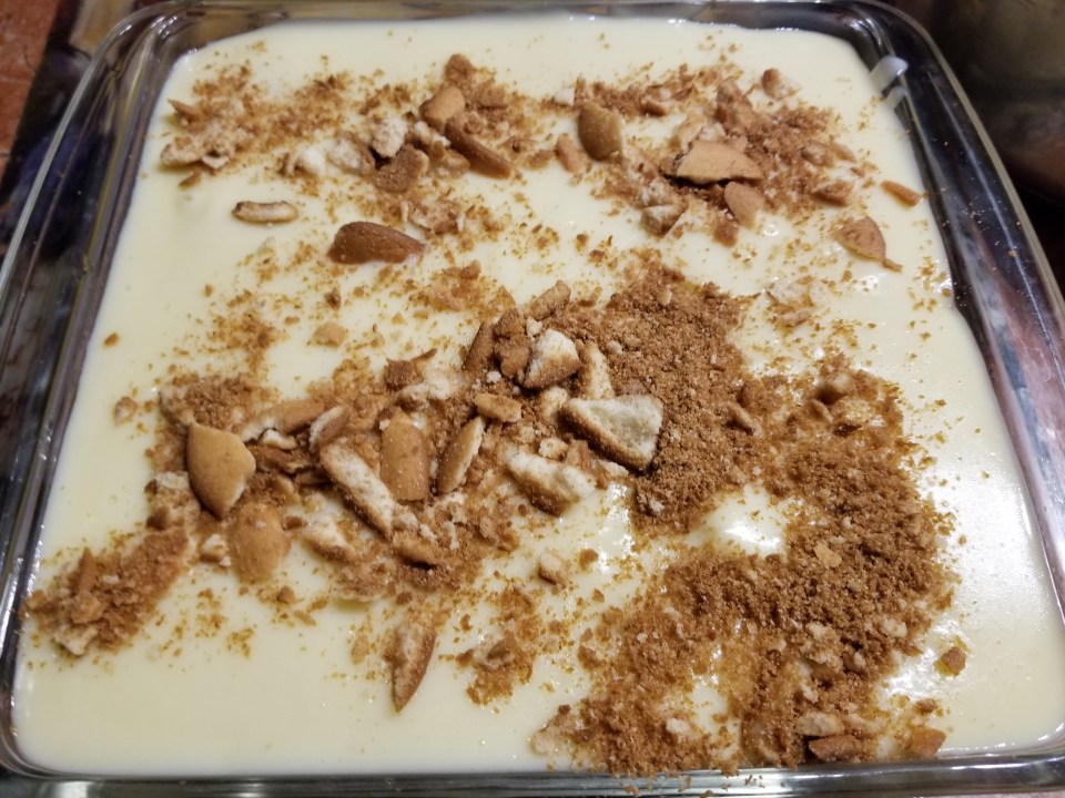 easy soul food recipe for banana pudding pictured in a square glass dish