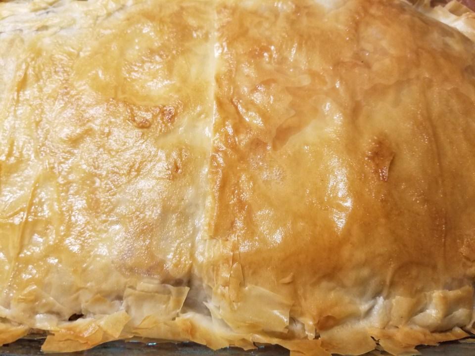 shows golden crispy baklava