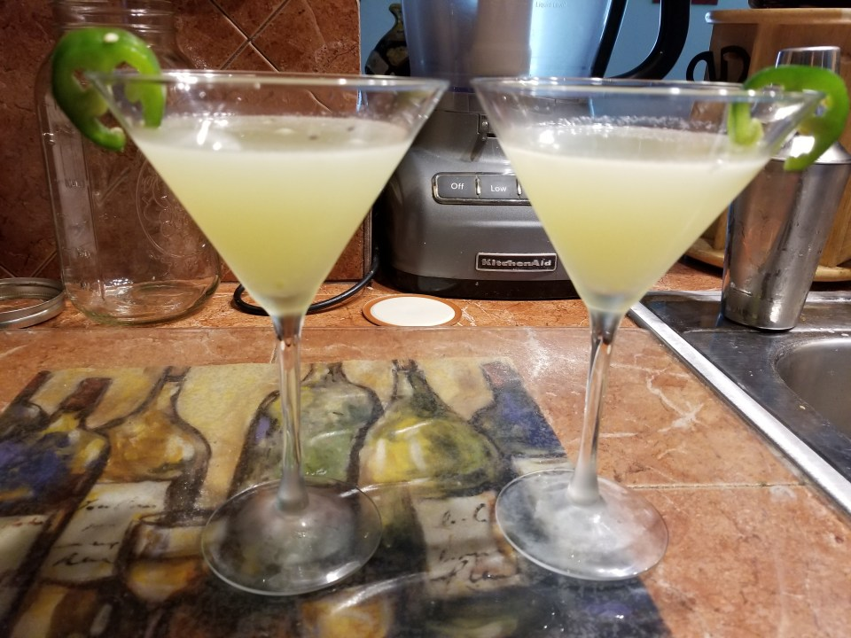 2 margaritas made with jalepenos
