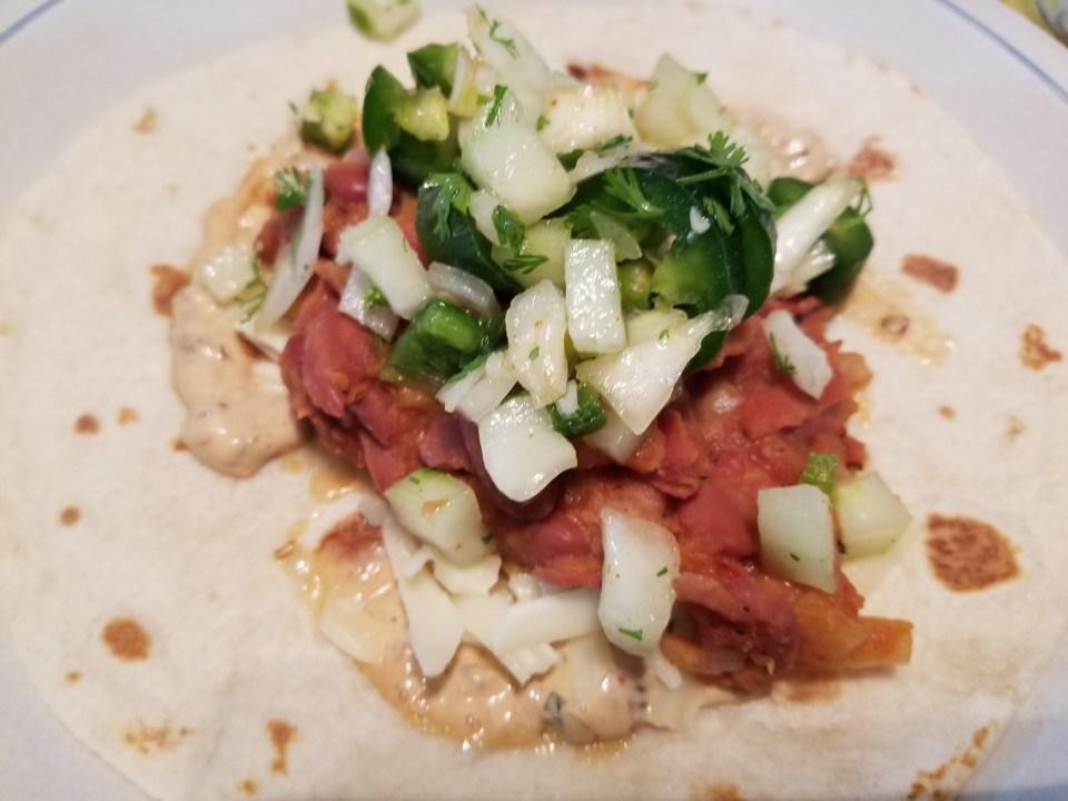 Street taco recipes: shows refried bean tacos
