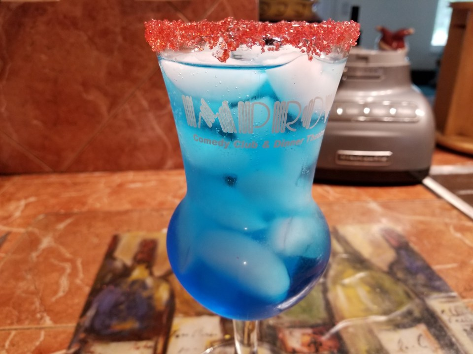 Another red white and blue drink