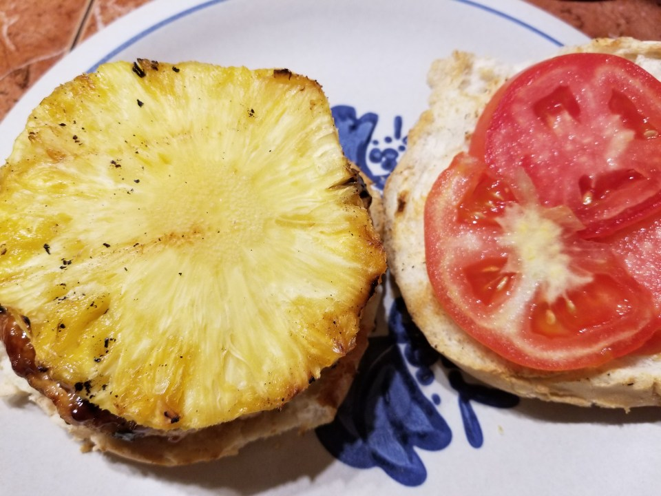 chicken best burger recipe with a slice of pineapple and ham to make it an Island burger