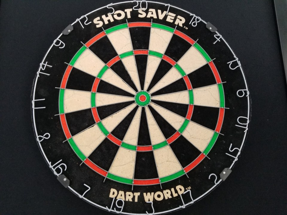 dart board for added entertainment when making your garage into a mancave