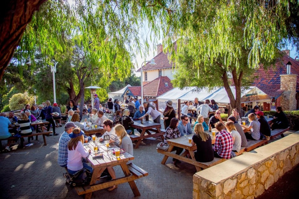 outdoor beer garden in one of the pubs and bars in South West Australia