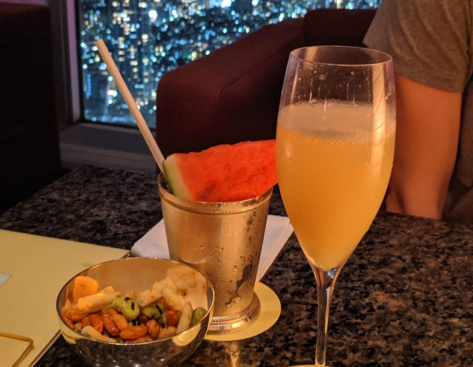 cocktails and snacks at one of the bars in Tokyo
