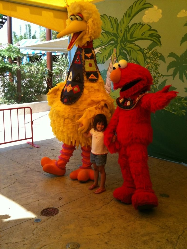 a little girl posing for a photo with Big Bird and Elmo