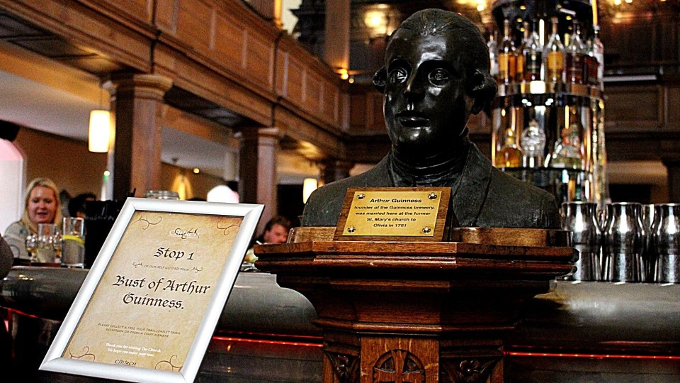 Shows the bust of Arthur Guinness at The Church, one of the speakeasys located in Dublin