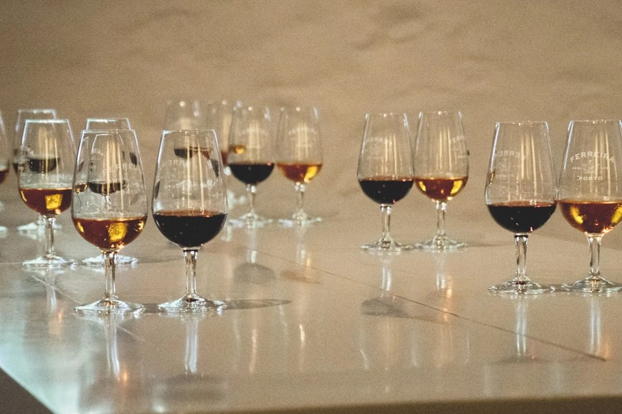 glasses of Port wine from vineyards in the Duoro valley in Spain