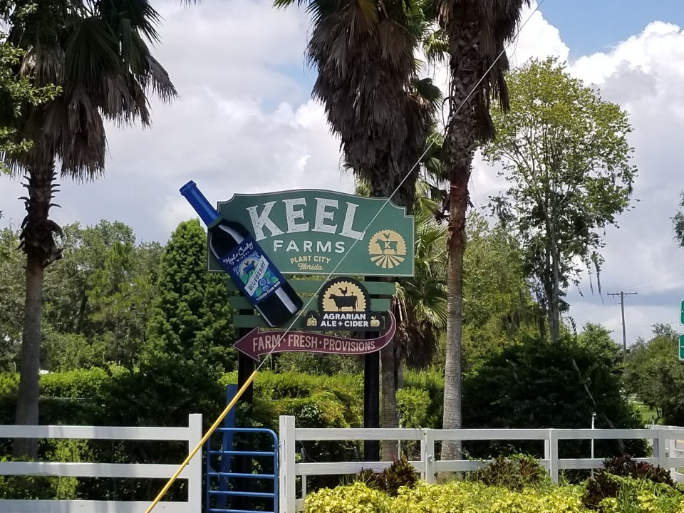 sign outside Keel & Curley Winery which specializes in blueberry wines