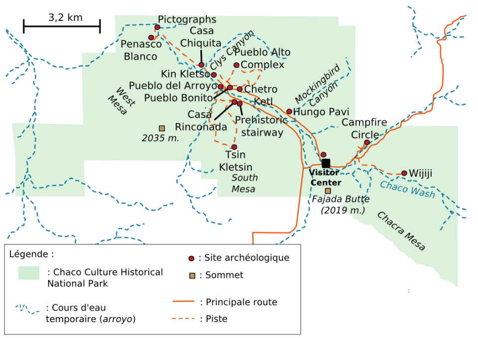 history travel to New Mexico, picture shows a map of Chaco Culture Historical National Park