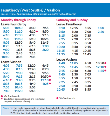 2020 Winter Vashon Island Ferry Schedule from West Seattle Faultleroy.