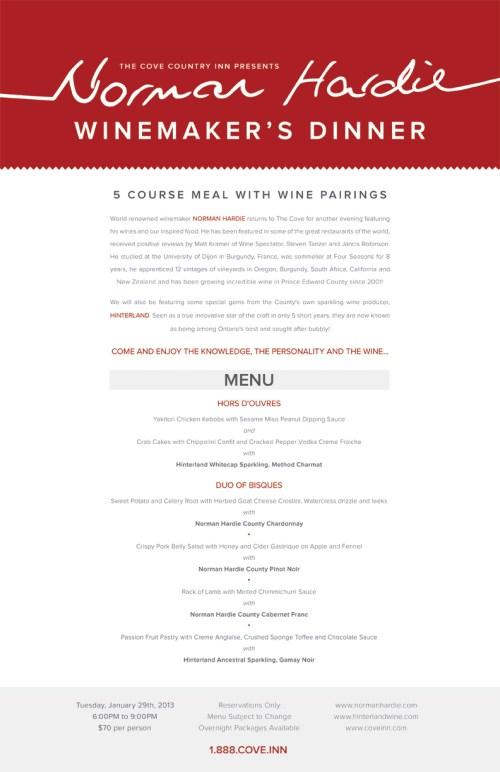 The Cove present Norman Hardie Winemaker's Dinner on January 29, 2013