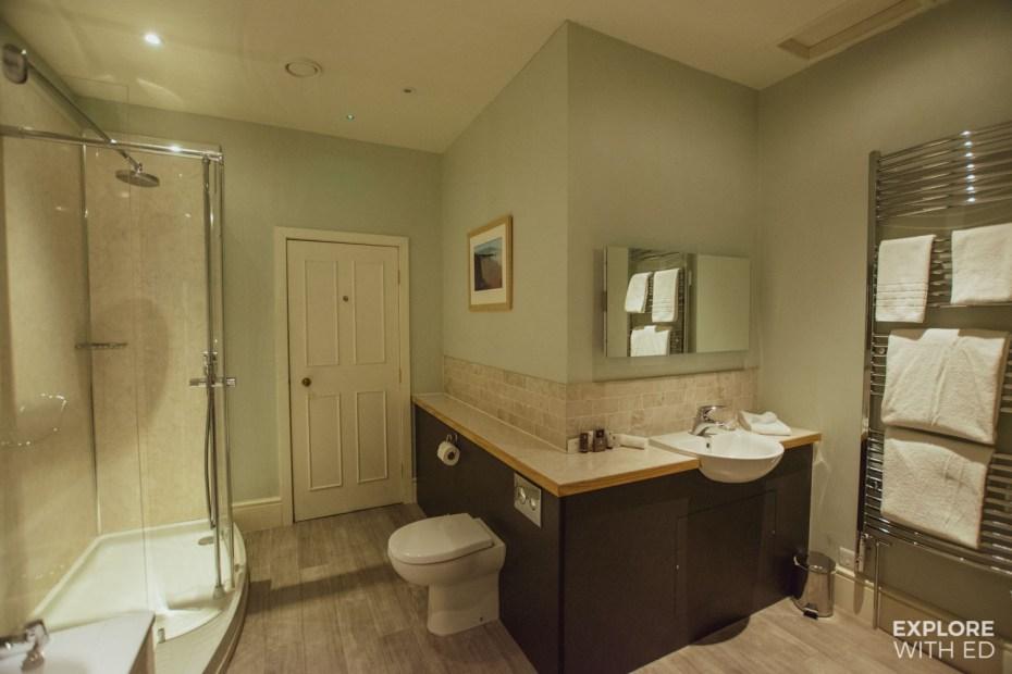 Large bathroom with rain shower at Nanteos Mansion