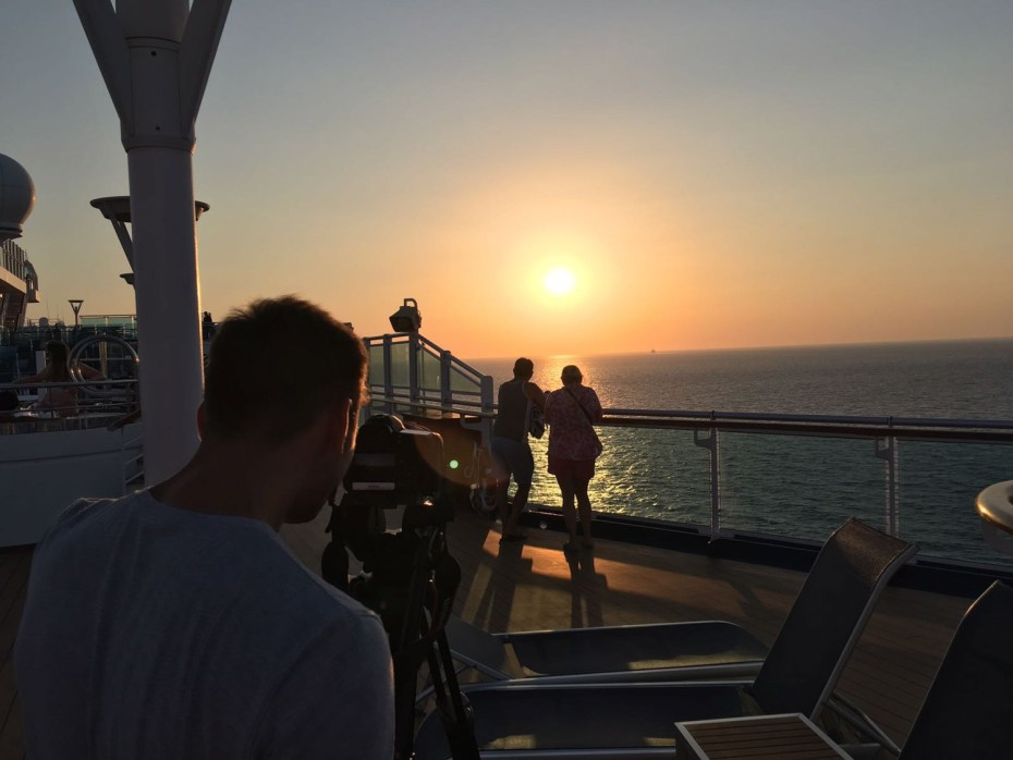 Behind the scenes filming of 'The Cruise' on ITV. Image provided by Princess Cruises