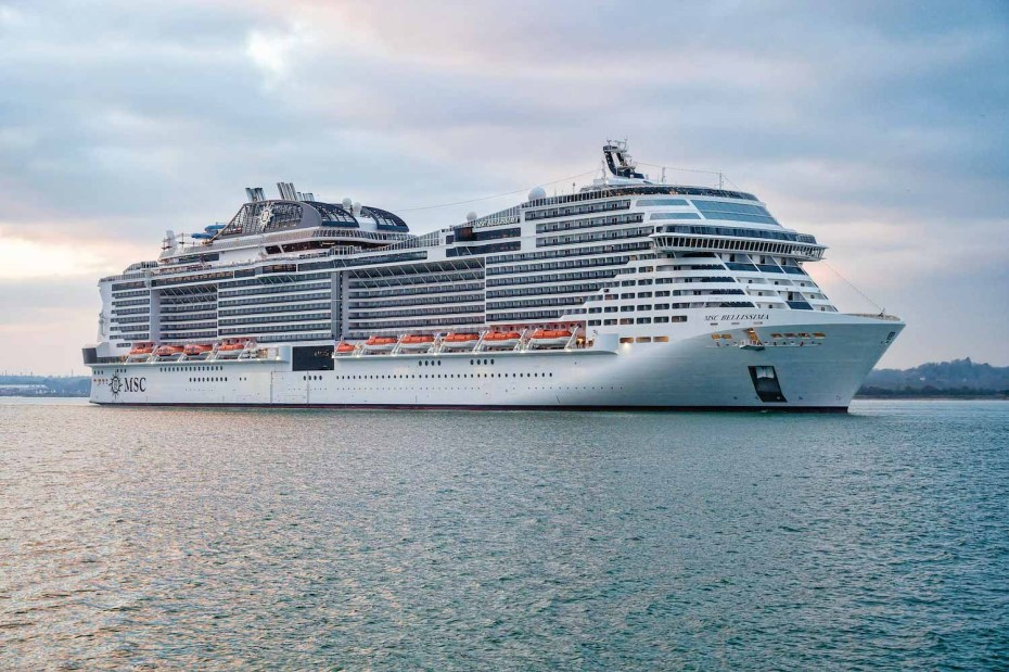 MSC Bellissima cruise ship arriving into Southampton, photo provided by MSC Cruises