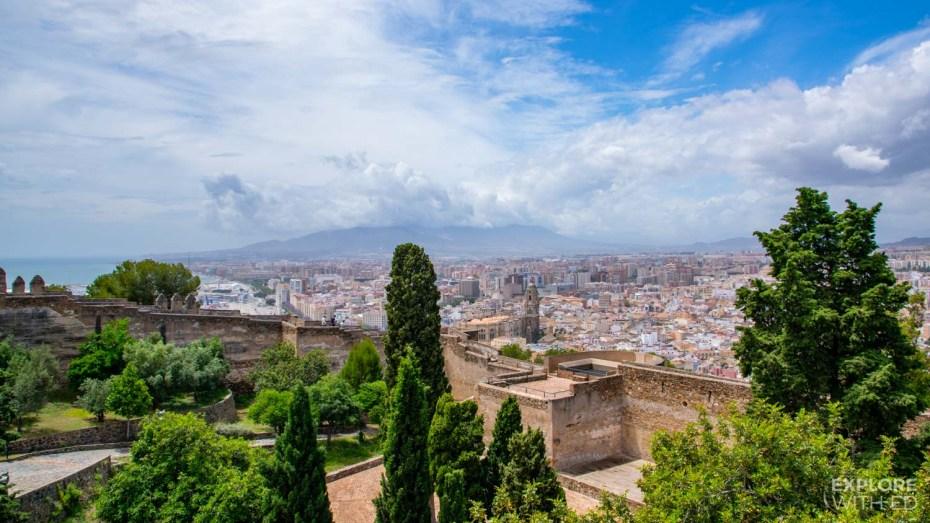 Fortress walls of Gibralfaro in Malaga