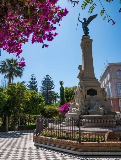 Beautiful gardens of Alameda Apodaca in Cadiz, Spain