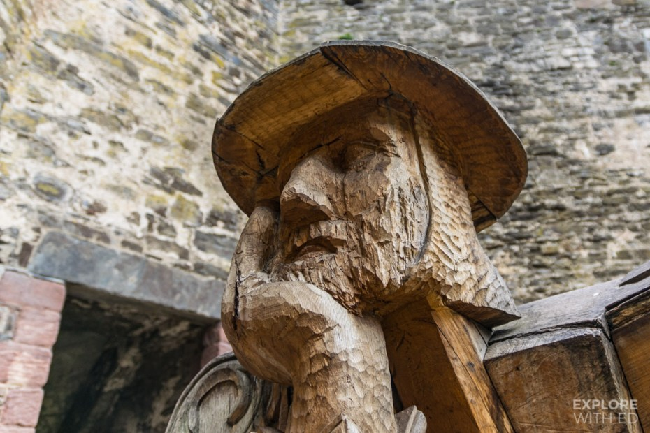Wood carving of solider in Conwy Castle