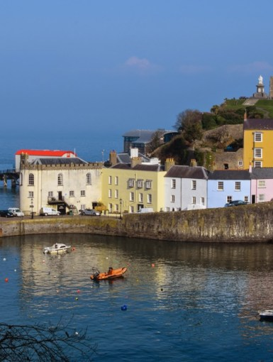 The beautiful harbour of Tenby with colourful houses