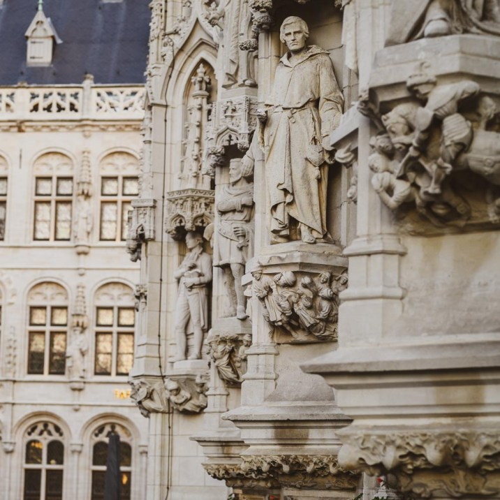 The stone statues on Leuven Town Hall
