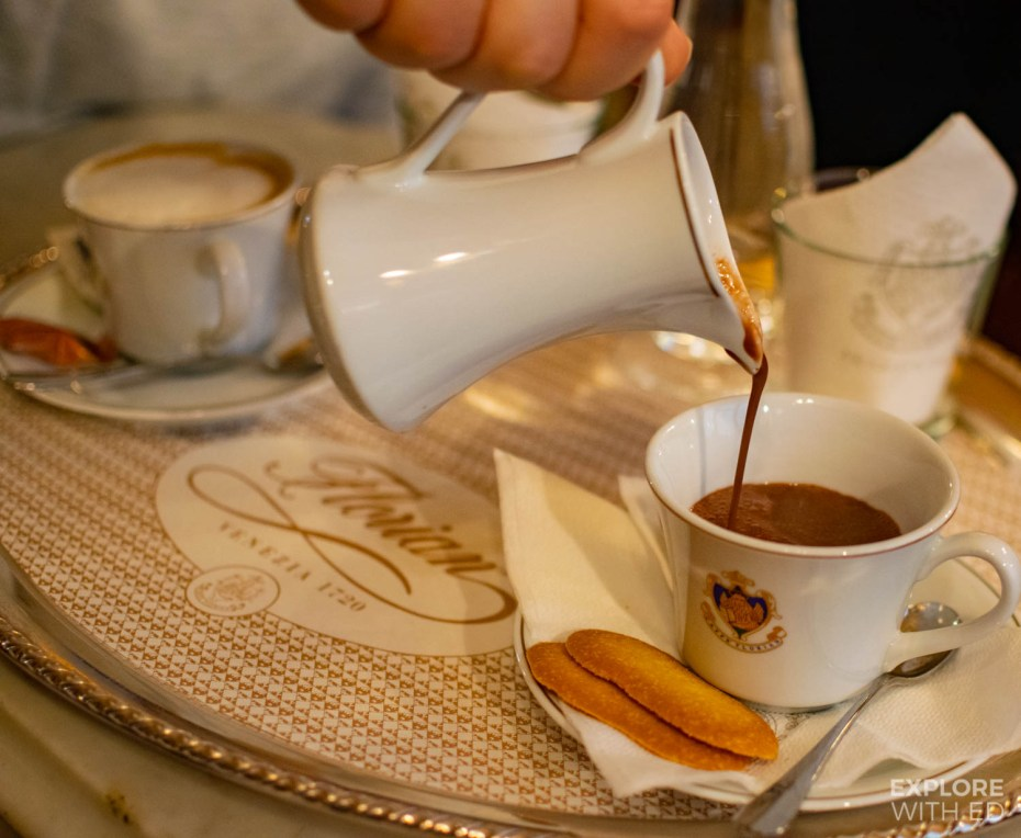 Hot chocolate in Caffe Florian, Venice, Italy